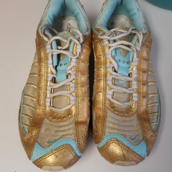 the best attitude 9ae41 83371 Nike tiffany blue & gold w/rhinestones